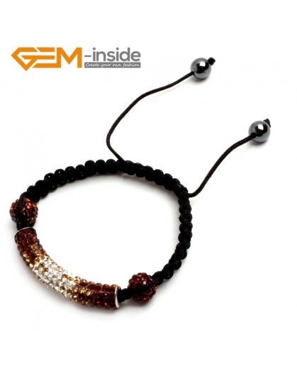 "G9947 Coffee&White Handmade 50mm Curved Sparkle Disco Pave Tube Bracelet Adjustable7.5"" New Arrival Fashion Jewelry Jewellery Bracelets  for women"