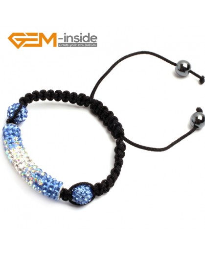 "G9954 Light Blue&White Handmade 50mm Curved Sparkle Disco Pave Tube Bracelet Adjustable7.5"" New Arrival Fashion Jewelry Jewellery Bracelets  for women"