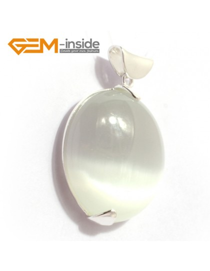 G6373 white cat eye Fashion colorful coin silver pendant 30 x 41mm  FREE box + necklace chain Pendants Fashion Jewelry Jewellery