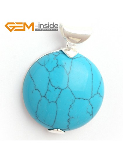 G6376 blue turquoise Fashion colorful coin silver pendant 30 x 41mm  FREE box + necklace chain Pendants Fashion Jewelry Jewellery