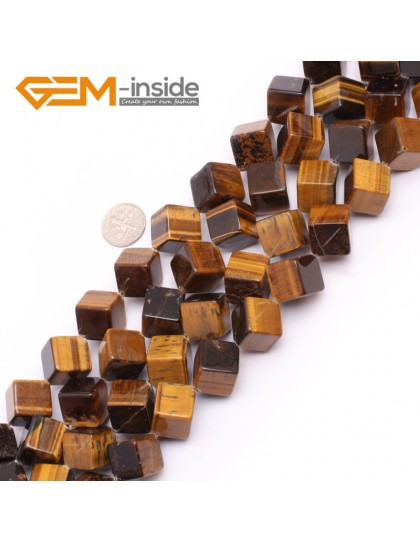 "G7495  14mm Yellow Cubic Diagonal Natural Tiger Eye Beads Strand 15""  Natural Stone Beads for Jewelry Making Wholesale"