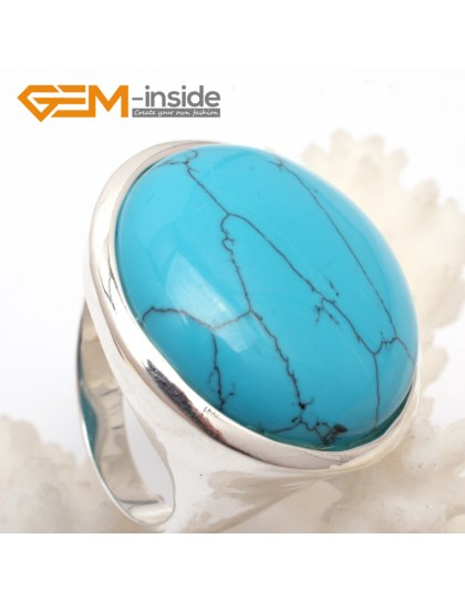 G7625 Dyed blue turquoise 28mm cabochon tibetan silver rings for women Rings Fashion Jewelry Jewellery