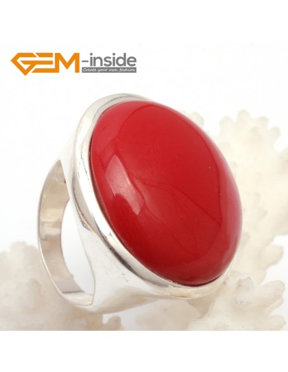 G7626 Man-made red coral 28mm cabchon tibetan silver ring for women Rings Fashion Jewelry Jewellery