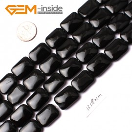 """G0223 13x18mm Rectangle Natural Black Agate Beads  Strand 15"""" Natural Stone Beads for Jewelry Making Wholesale"""