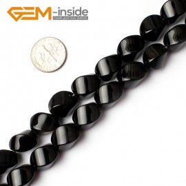 "G0226 10x14mm Egg Twist Natural Black Agate Gemstone Loose Beads 15"" Free Shipping Natural Stone Beads for Jewelry Making Wholesale"