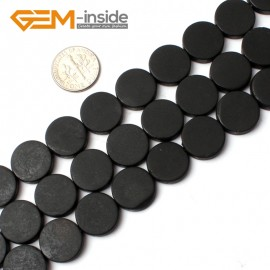 """G0242 15mm Coin Matte Black Brazil Agate Gemstone  Loose Beads Strands 15"""" Natural Stone Beads for Jewelry Making Wholesale"""