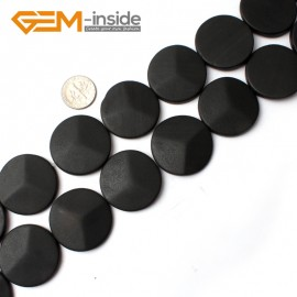 "G0243 30mm Coin Matte Black Brazil Agate Gemstone  Loose Beads Strands 15"" Natural Stone Beads for Jewelry Making Wholesale"
