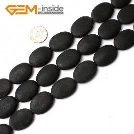 """G0245 18X25mm Oval Matte Brazil Black Agate Beads 15"""" Jewelery Making Gemstone Loose Beads Natural Stone Beads for Jewelry Making Wholesale"""