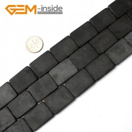 "G0248 18X25mm Rectangle Matte Black Agate Stone Beads Strand 15"" Natural Stone Beads for Jewelry Making Wholesale"
