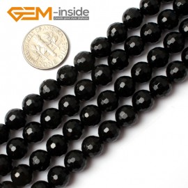 """G0261 8mm Natural Round Faceted Black Agate Gemstone Stone Beads Strand 15"""" Natural Stone Beads for Jewelry Making Wholesale"""