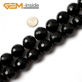 "G0270 20mm Natural Round Faceted Black Agate Gemstone Stone Beads Strand 15"" Natural Stone Beads for Jewelry Making Wholesale"