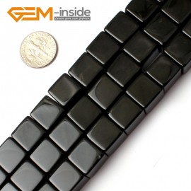 "G0275 12mm Square Cube Black Agate Onyx Gemstone Loose Beads Strand 15"" for Jewelery Making Natural Stone Beads for Jewelry Making Wholesale"
