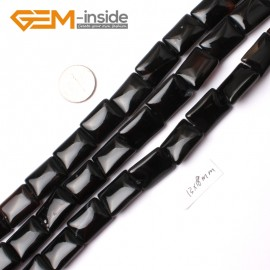 """G0282 13x18mm Rectangle Natural Black Agate Stone Beads Strand 15"""" Natural Stone Beads for Jewelry Making Wholesale"""
