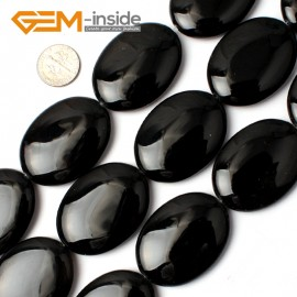 "G0298 30x40mm Natural Oval Black Agate Onyx Gemstone Loose Beads 15"" Jewelry Making Beads Natural Stone Beads for Jewelry Making Wholesale"