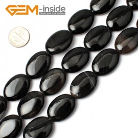 "G0300 18x25mm Natural Oval Black Agate Onyx Gemstone Loose Beads 15"" Jewelry Making Beads Natural Stone Beads for Jewelry Making Wholesale"