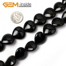 "G0316 18mm Heart Black Agate Gemstone Loose Beads 15"" Free Shipping Natural Stone Beads for Jewelry Making Wholesale"
