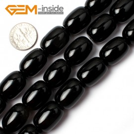 "G0319 Smooth Natural Column Black Agate Loose Beads Gemtone 15"" Size 13x18mm Natural Stone Beads for Jewelry Making Wholesale"