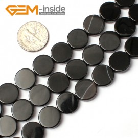 "G0329 12mm Coin Natural Black Agate Stone Gemstone Loose Beads Strand 15"" Natural Stone Beads for Jewelry Making Wholesale"