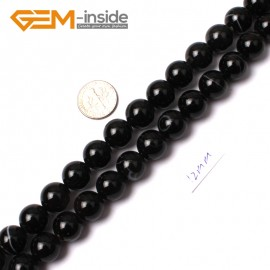 """G0355 12mm Round Gemstone Natural Sardonyx Onyx Black Agate Loose Beads Strand 15"""" Natural Stone Beads for Jewelry Making Wholesale"""