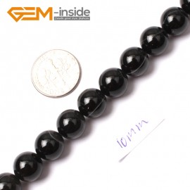 "G0356 10mm Round Gemstone Natural Sardonyx Onyx Black Agate Loose Beads Strand 15"" Natural Stone Beads for Jewelry Making Wholesale"