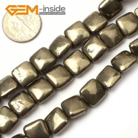 "G0387 10mm square Gemstone Silver Gray Pyrite Stone Beads Strand 15"" Free Shipping Natural Stone Beads for Jewelry Making Wholesale"