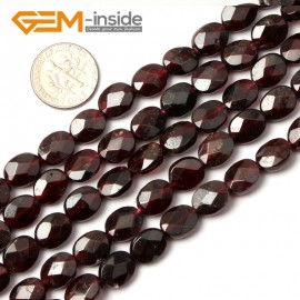 "G0437 8x10mm Oval Faceted Gemstone Red Garnet Beads Strand 15"" Free Shipping Natural Stone Beads for Jewelry Making Wholesale"