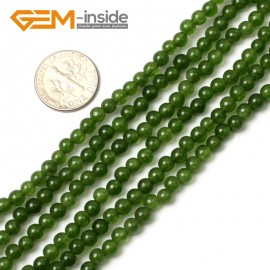 "G0499 4mm Green TaiWan Jade Round Gemstone Tiny Jewelry Making Loose Spacer Beads Strand 15"" Natural Stone Beads for Jewelry Making Wholesale"