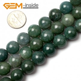 "G0560 12mm Natural Round Green Moss Agate Beads Strand 15"" Natural Stone Beads for Jewelry Making Wholesale"