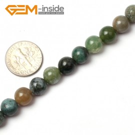 """G0562 8mm Natural Round Green Moss Agate Stone Quartz Beads strand 15"""" Natural Stone Beads for Jewelry Making Wholesale"""