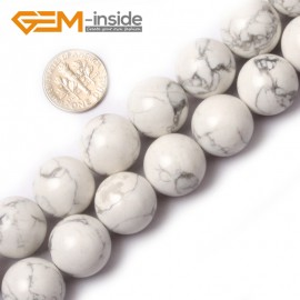 """G0565 16mm Round Natural Howlite (White Turquoise) Beads Strand 15"""" Free Shipping Natural Stone Beads for Jewelry Making Wholesale"""