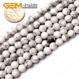 """G0569 6mm Round Natural Howlite (White Turquoise) Beads Strand 15"""" Free Shipping Natural Stone Beads for Jewelry Making Wholesale"""