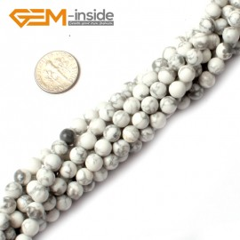 """G0570 4mm Round Howlite (White Turquoise) Beads Strand 15"""" Free Shipping Natural Stone Beads for Jewelry Making Wholesale"""