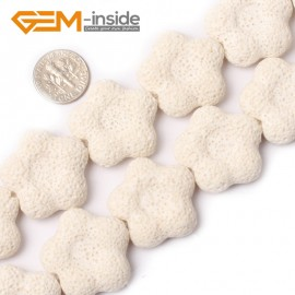 """G0737 27mm Flower Shape White Lava Rock Gemstone Loose  Beads15"""" Natural Stone Beads for Jewelry Making Wholesale"""