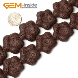"""G0738 27mm Flower Shape Gemstone Brown Lava Rock Gemstone Loose Beads15""""  Natural Stone Beads for Jewelry Making Wholesale"""