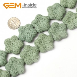 """G0740  27mm Flower Shape Green Lava Rock Gemstone Loose  Beads15"""" Natural Stone Beads for Jewelry Making Wholesale"""