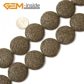 """G0751 Dark Green (27mm) Coin Lava Rock Beads Jewelry Making  Loose Beads Strand 15"""" Free Shipping Natural Stone Beads for Jewelry Making Wholesale"""