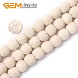 """G0762 White (14mm)  Round Gemstone Lava Rock Beads Strand 15"""" Selectable Color Free Shipping Natural Stone Beads for Jewelry Making Wholesale"""