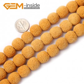 "G0764 Yellow (14mm) Round Gemstone Lava Rock Beads Strand 15"" Selectable Color Free Shipping Natural Stone Beads for Jewelry Making Wholesale"