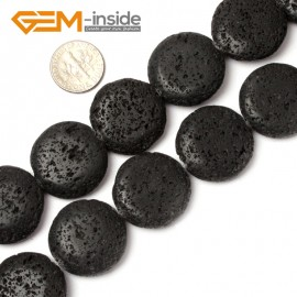"""G0780 25mm Coin Gemstone Black Lava Rock Jewelry Making Beads Strand 15"""" Free Shipping Natural Stone Beads for Jewelry Making Wholesale"""