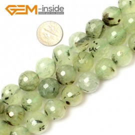 "G0794 14mm Natural Round Faceted Prehnite Beads Jewelry Making Loose Beads15"" Free Shipping Natural Stone Beads for Jewelry Making Wholesale"