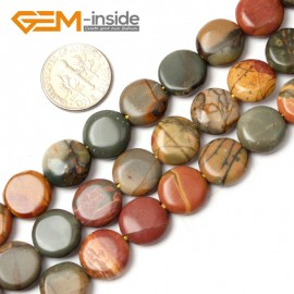 """G0810 12mm Coin Gemstone Picasso Jasper Loose Beads Strand 15"""" Jewelry Making Free Shipping Natural Stone Beads for Jewelry Making Wholesale"""