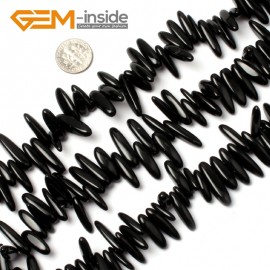 "G0903 18-20mm (Black Agate) Freeform Stick Gemstone Jewelry Making Loose Beads 15"" 39 Materials Natural Stone Beads for Jewelry Making Wholesale"