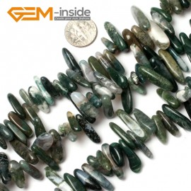 "G0906 18-20mm (Moss Agate) Freeform Stick Gemstone Jewelry Making Loose Beads 15"" 39 Materials Natural Stone Beads for Jewelry Making Wholesale"