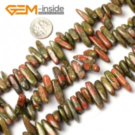 "G0908 18-20mm (Unakite) Freeform Stick Gemstone Jewelry Making Loose Beads 15"" 39 Materials Natural Stone Beads for Jewelry Making Wholesale"