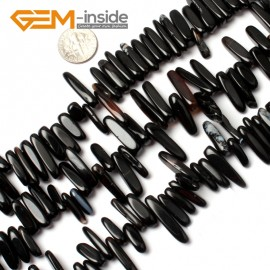 "G0911 18-20mm (Black Banded Agate) Freeform Stick Gemstone Jewelry Making Loose Beads 15"" 39 Materials Natural Stone Beads for Jewelry Making Wholesale"
