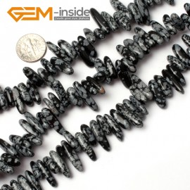 "G0914 18-20mm (Snowflake Obsidian) Freeform Stick Gemstone Jewelry Making Loose Beads 15"" 39 Materials Natural Stone Beads for Jewelry Making Wholesale"
