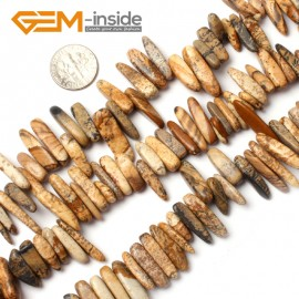 "G0916 18-20mm (Picture Jasper) Freeform Stick Gemstone Jewelry Making Loose Beads 15"" 39 Materials Natural Stone Beads for Jewelry Making Wholesale"