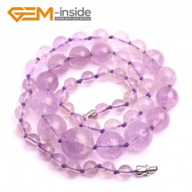 """G10258 6-14mm Light Amethyst 18"""" Handmade Graduated Necklace Beads 17-22 Inches Selectable XMAS Jewelry Gemstone Birthstone Necklaces Fashion Jewelry Jewellery"""