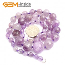 """G10276 Light Amethyst 18"""" 6-14mm Handmade Gemstone Finished Faceted Graduated Necklace Gbeads Gemstone Birthstone Necklaces Fashion Jewelry Jewellery"""