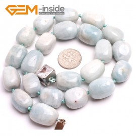 "G10359 13x18mm Freefrom Light  Blue Aquamarine Gemstone Beads Handmad Finished Jewelry Necklace 17"" Gemstone Birthstone Necklaces Fashion Jewelry Jewellery"